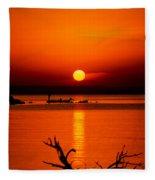 Egyptian Sunrise On Lake Nasser Fleece Blanket