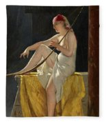 Egyptian Woman With Harp Fleece Blanket
