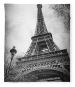 Eiffel Tower And Lamp Post Bw Fleece Blanket