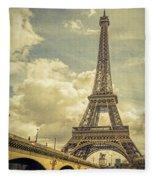 Eiffel Tower And Pont D'lena Vintage Fleece Blanket