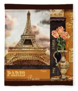 Eiffel Tower And Roses Fleece Blanket
