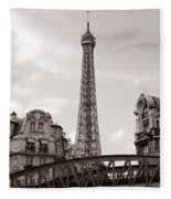 Eiffel Tower Black And White 3 Fleece Blanket