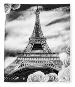Eiffel Tower In Black And White Design IIi Fleece Blanket