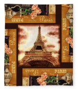 Eiffel Tower Roses Dance Fleece Blanket