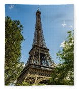Eiffel Tower Through Trees Fleece Blanket