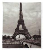 Eiffel Tower With Bridge In Sepia Fleece Blanket