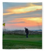 Eighteenth Green At Sunset Fleece Blanket