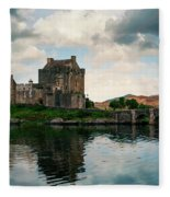 Eilean Donan Castle On A Cloudy Day Fleece Blanket