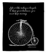 Einstein's Bicycle Quote - White Fleece Blanket
