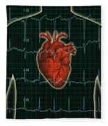 Ekg And Heart Over Torso Fleece Blanket
