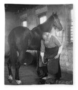 Elderly Blacksmith Shoeing Horse Fleece Blanket