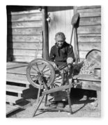 Elderly Woman Spinning Wool, C.1920s Fleece Blanket