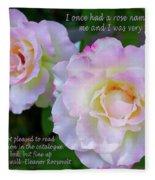 Eleanor Roosevelt Roses Fleece Blanket