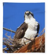 Electric Blue Osprey Fleece Blanket