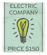 Electric Company Vintage Monopoly Board Game Theme Card Fleece Blanket