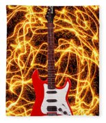 Electric Guitar With Sparks Fleece Blanket