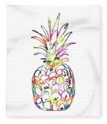 Electric Pineapple - Art By Linda Woods Fleece Blanket by Linda Woods