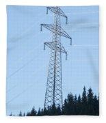 Electric Pylon On Blue Sky Fleece Blanket
