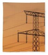 Electricity Pylon At Sunset  Fleece Blanket