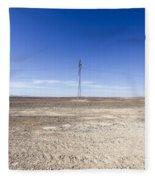 Electricity Pylon In Desert Fleece Blanket