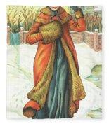 Elegant Lady In Snow, Christmas Card Fleece Blanket