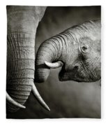 Elephant Affection Fleece Blanket