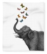 Elephant Blowing Butterflies From His Trunk Fleece Blanket