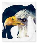Elephant And Eagle Fleece Blanket