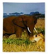 Elephant And The Lions Fleece Blanket