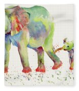 Elephant Family Watercolor  Fleece Blanket by Melly Terpening
