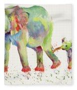 Elephant Family Watercolor  Fleece Blanket