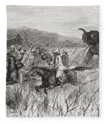 Elephant Hunters In The 19th Century Fleece Blanket
