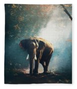 Elephant In The Mist - Painting Fleece Blanket