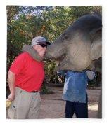Elephant Kissing Man Holding Bananas Fleece Blanket