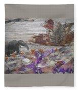 Elephant On Steep Road Fleece Blanket