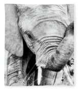 Elephant Portrait In Black And White Fleece Blanket