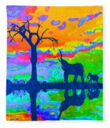 Elephant Reflections Fleece Blanket
