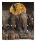 Elephant Run Fleece Blanket
