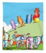 Elephants And Urns On A Hill Fleece Blanket