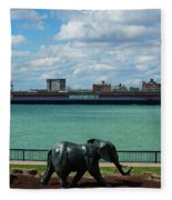 Elephants Go A Marching  Fleece Blanket