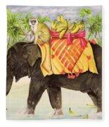 Elephants With Bananas Fleece Blanket