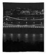 Elizabeth And Liberty Bridges Budapest Bw Fleece Blanket