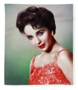 Elizabeth Taylor, Vintage Movie Star Fleece Blanket