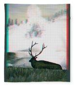 Elk - Use Red-cyan 3d Glasses Fleece Blanket