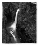 Elk Falls In The Canyon Black And White Fleece Blanket