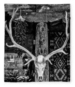 Elk Skull In Black And White Fleece Blanket