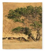 Elk Under Tree Fleece Blanket