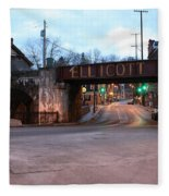 Ellicott City Nights - Entrance To Main Street Fleece Blanket