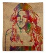 Ellie Goulding Watercolor Portrait Fleece Blanket