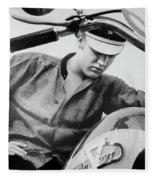 Elvis And His Bike Bw Fleece Blanket